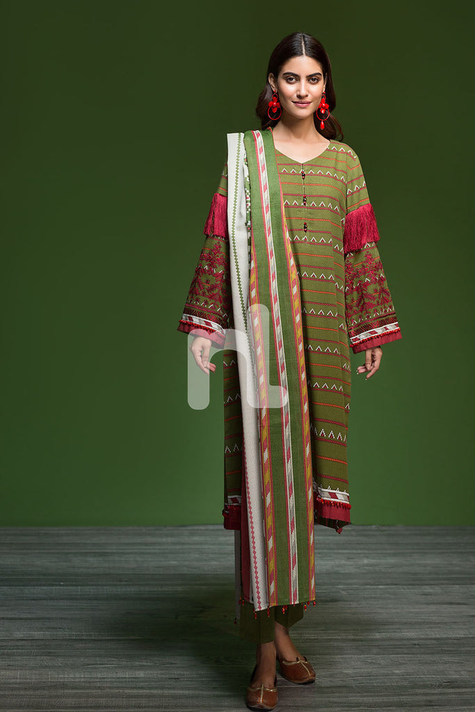 41901117-Khaddar & Karandi - Green Printed Embroidered 3PC