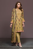 41901134-Cotton Karandi & Cotton Net - Yellow Digital Printed 2PC