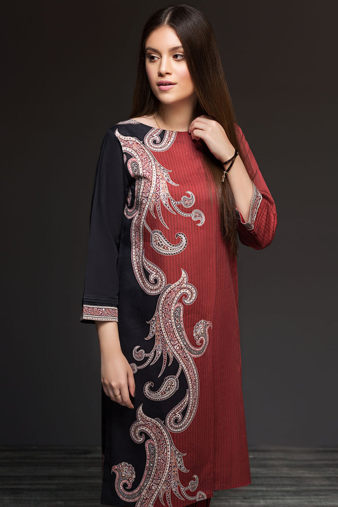 41901141-Cotton Karandi-Red Printed 2PC
