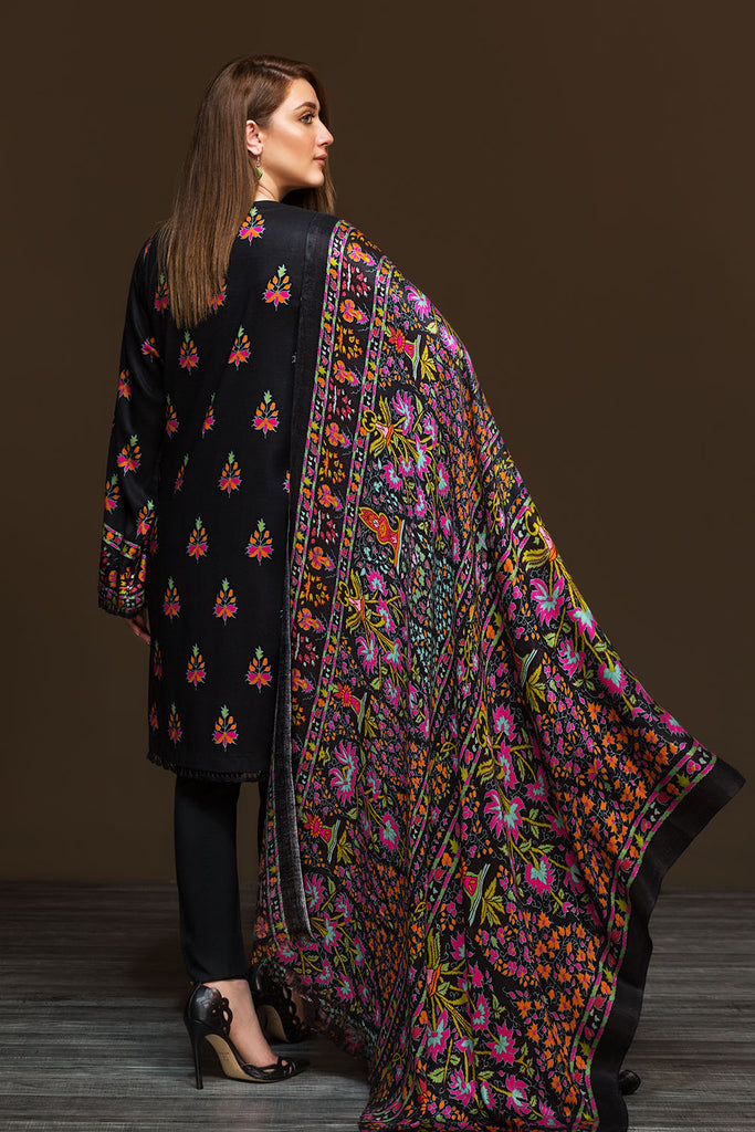 41901154-Linen Shawl - Black Printed 2PC