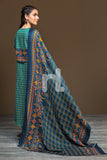 41901159-Linen Shawl - Green Printed 2PC