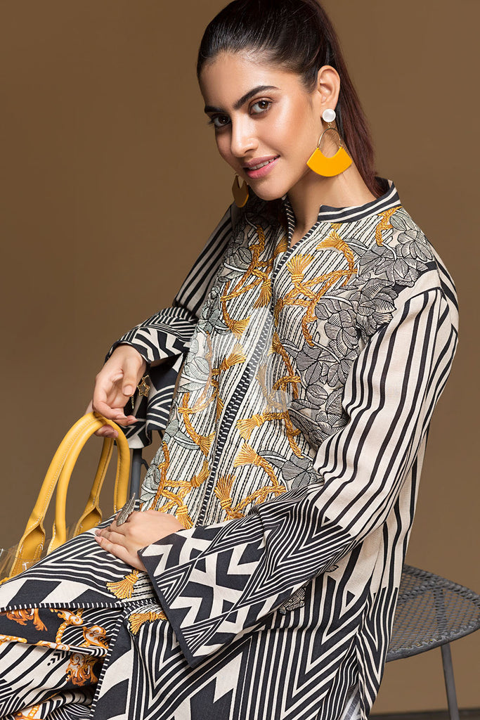 41901172-Khaddar - White Digital Printed Embroidered 2PC