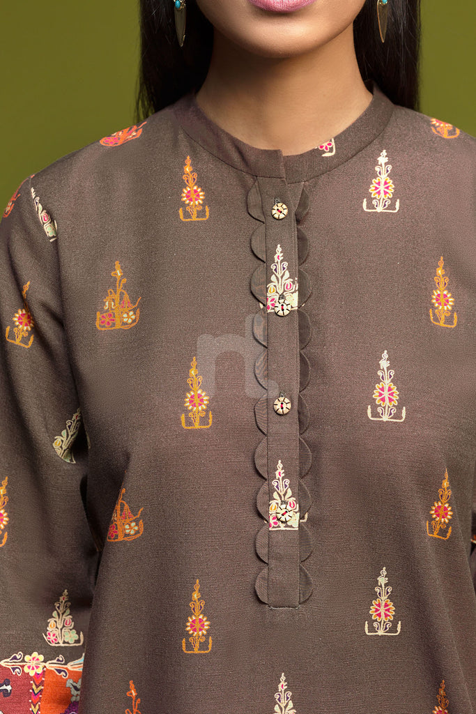 41901189- Brown Printed Khaddar Shirt Fabric Per (PKR 500/-) Meter-1PC