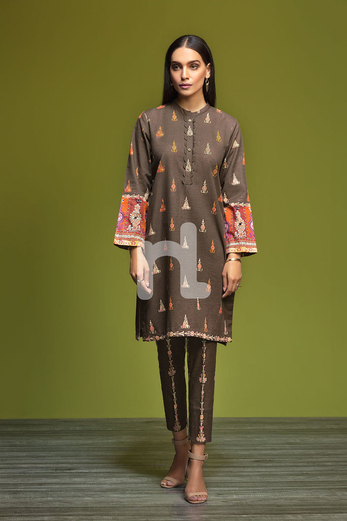 41901189-Khaddar - Brown Digital Printed 2PC