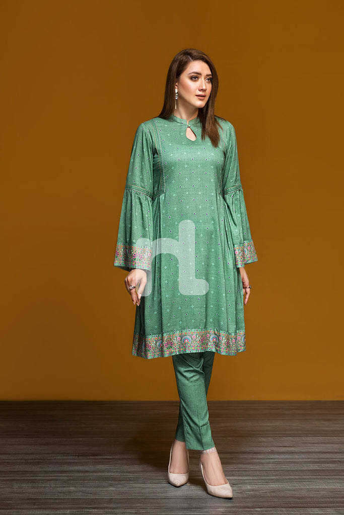 41901200-Linen - Green Printed 2PC