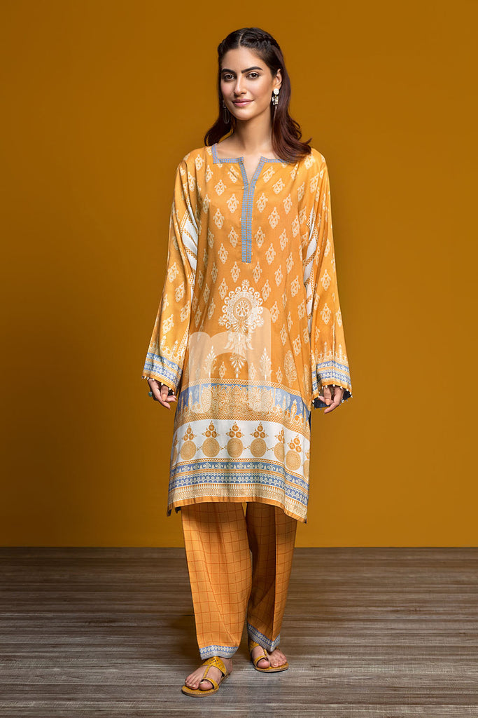 41901204 - Linen - Mustard Digital Printed 2PC