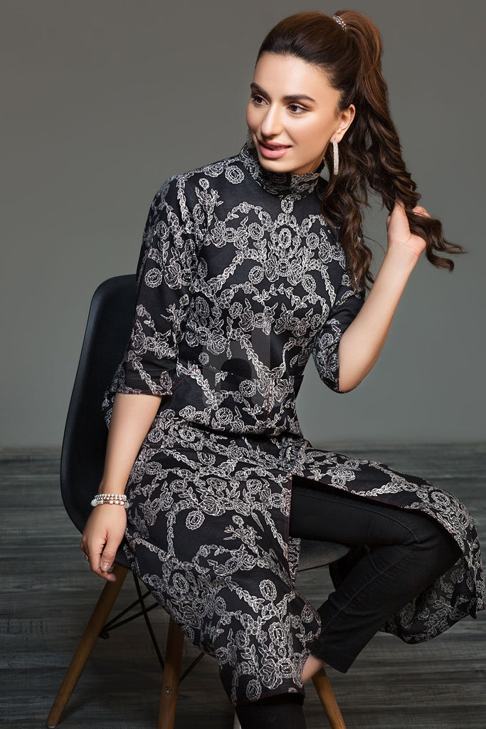 41901291- Black Printed Karandi Shirt Fabric -1PC