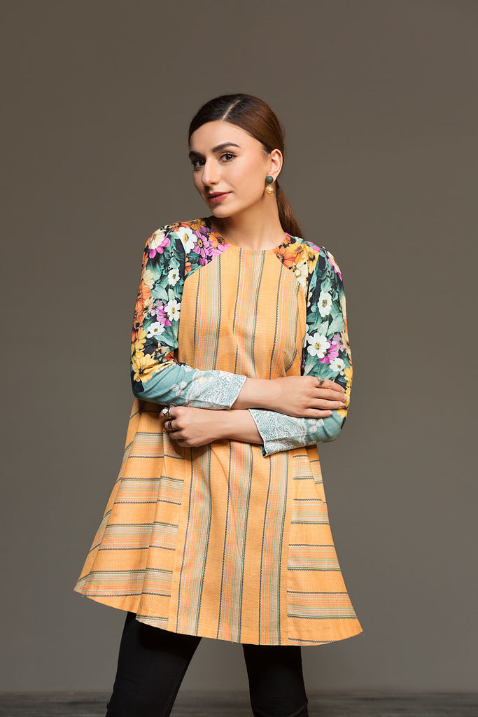 41901310- Orange Printed Khaddar Shirt Fabric Per (PKR 500/-) Meter-1PC