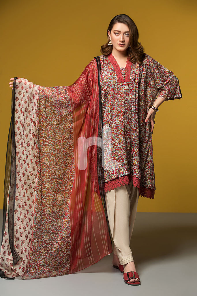 41906067-Lawn & Viscose Krinckle Chiffon- Red Printed 2PC