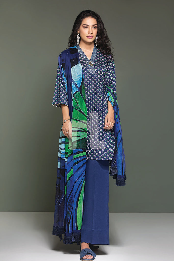 41906106-Lawn & Krinckle Chiffon - Blue Printed 2PC