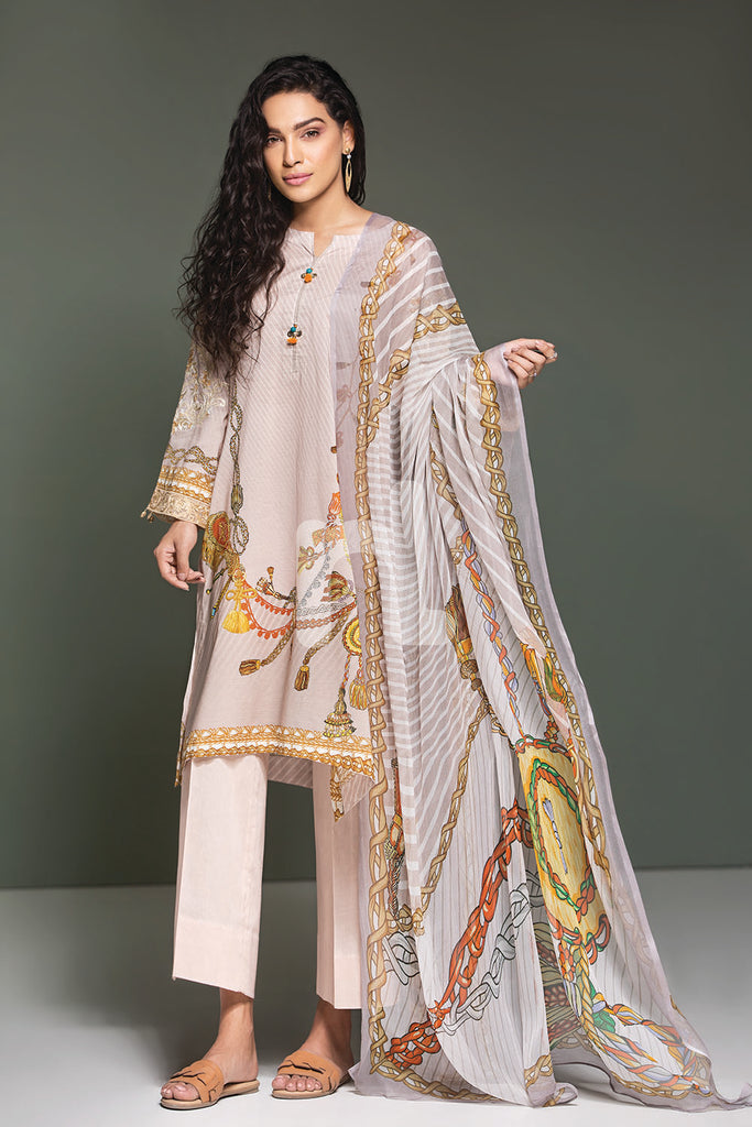 41906114-Lawn & Krinckle Chiffon - Beige Digital Printed Embroidered 3PC