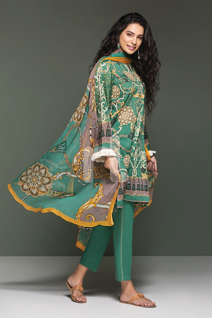 41906116-Lawn & Krinckle Chiffon - Green Digital Printed 3PC