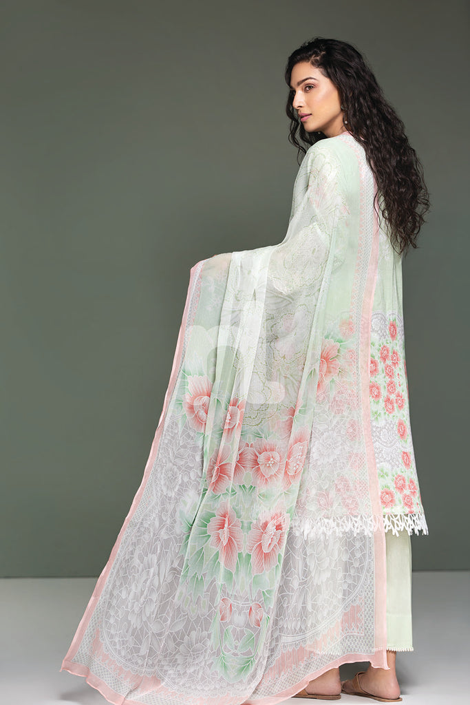 41906117-Lawn & Krinckle Chiffon - Green Digital Printed Embroidered 3PC