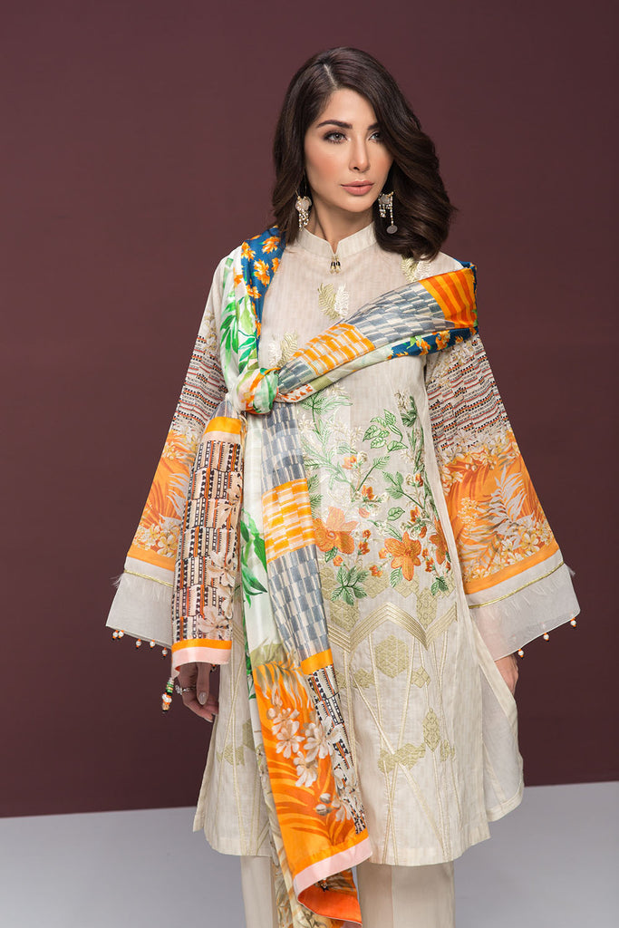 41906131-Lawn & Silk Chiffon - Off White Digital Printed Embroidered 3PC