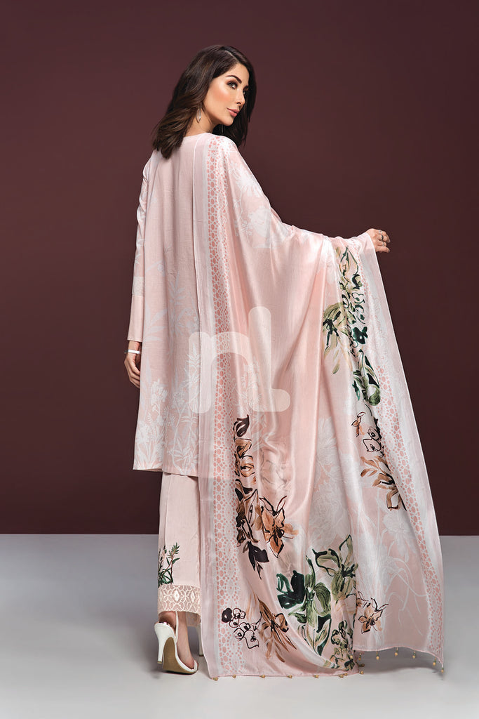 41906134-Lawn & Silk Chiffon - Pink Digital Printed Embroidered 3PC