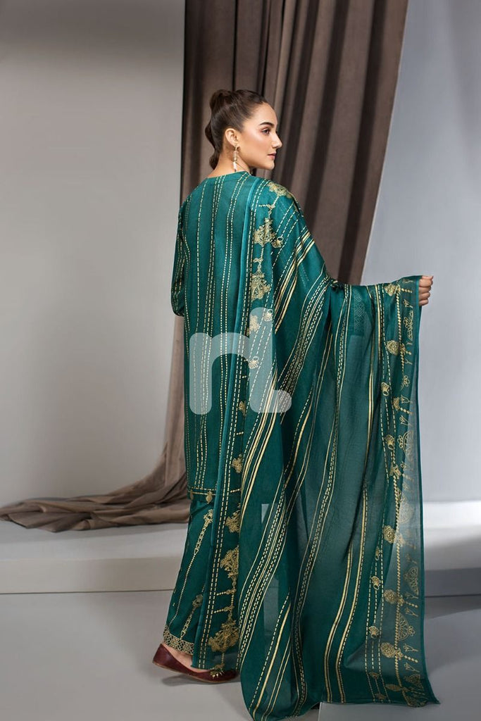 41907007-Lawn & Voil - Green Gold Printed Embroidered 3PC
