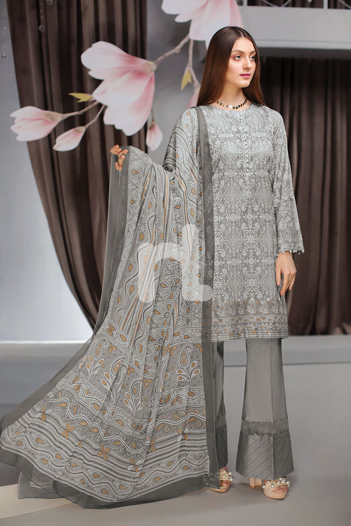 41907015 - Lawn & Georgette - Grey Printed Embellished 3PC