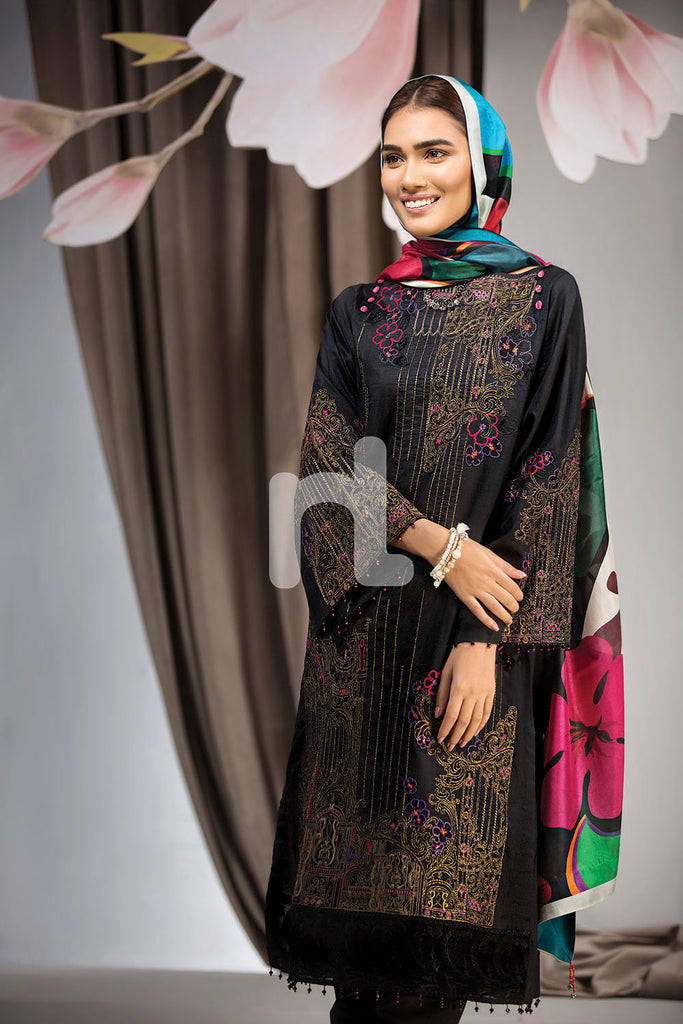 41907025-Lawn & Silk Chiffon - Black Dyed Embroidered 3PC