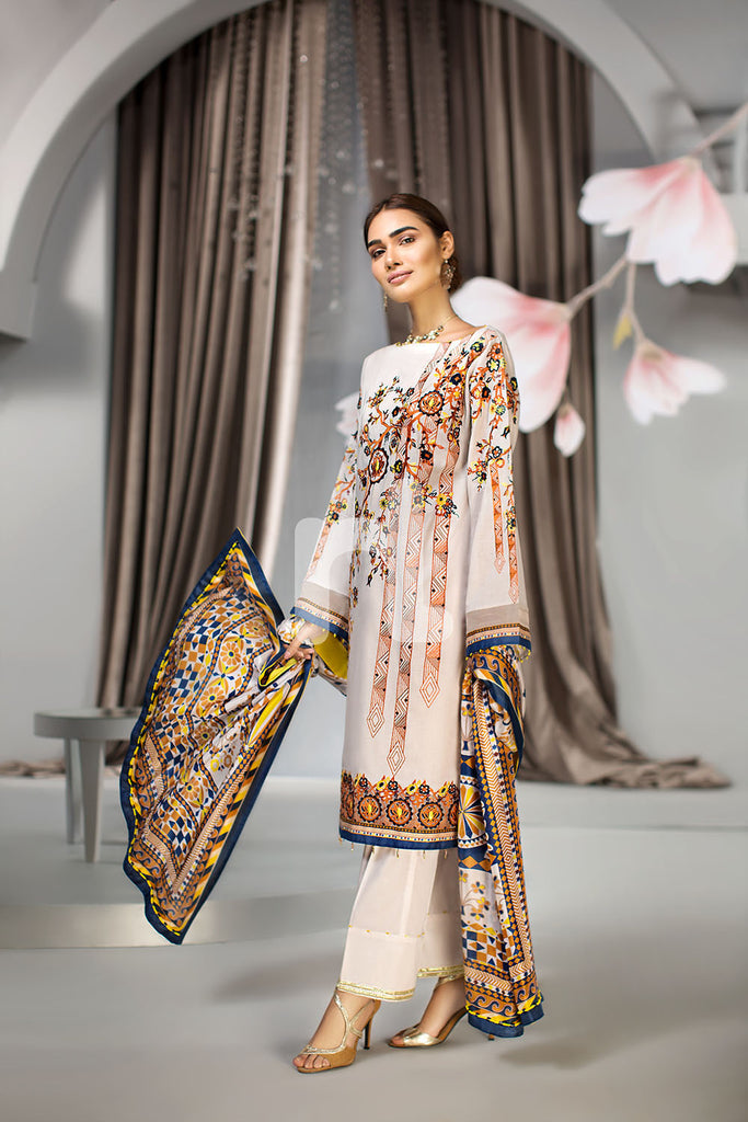 41907026 - Lawn & Silk Chiffon - Off White Printed Embroidered 3PC