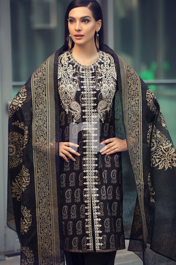 41907030 - Black Printed Lawn Shirt, Dyed Cambric Trouser, Printed Viscose Net Dupatta, Embroidered Front & Patti - 3PC