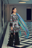 41907034 - Lawn & Viscose Net - Black Printed Embroidered 2PC