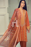 41907035 - Orange Yarn Dyed Embroidered Lawn Shirt, Dyed Cambric Trouser, Printed Cotton Net Dupatta, Sleeves & Border - 3PC