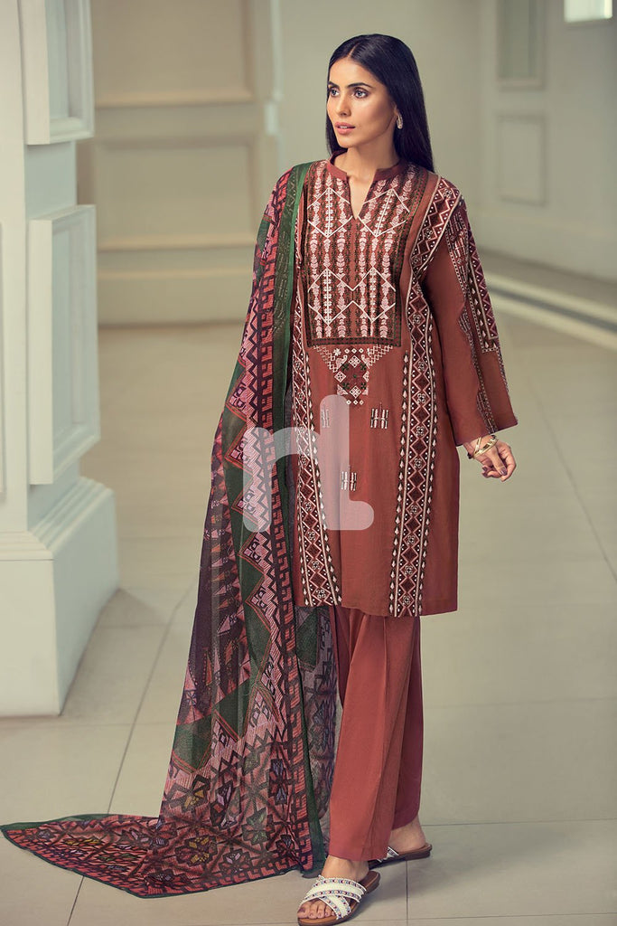 41907038 - Lawn & Cambric - Maroon Yarn Dyed Embroidered 2PC