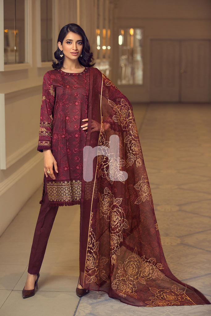 41907048 - Lawn & Viscose Net - Maroon Gold Printed 3PC