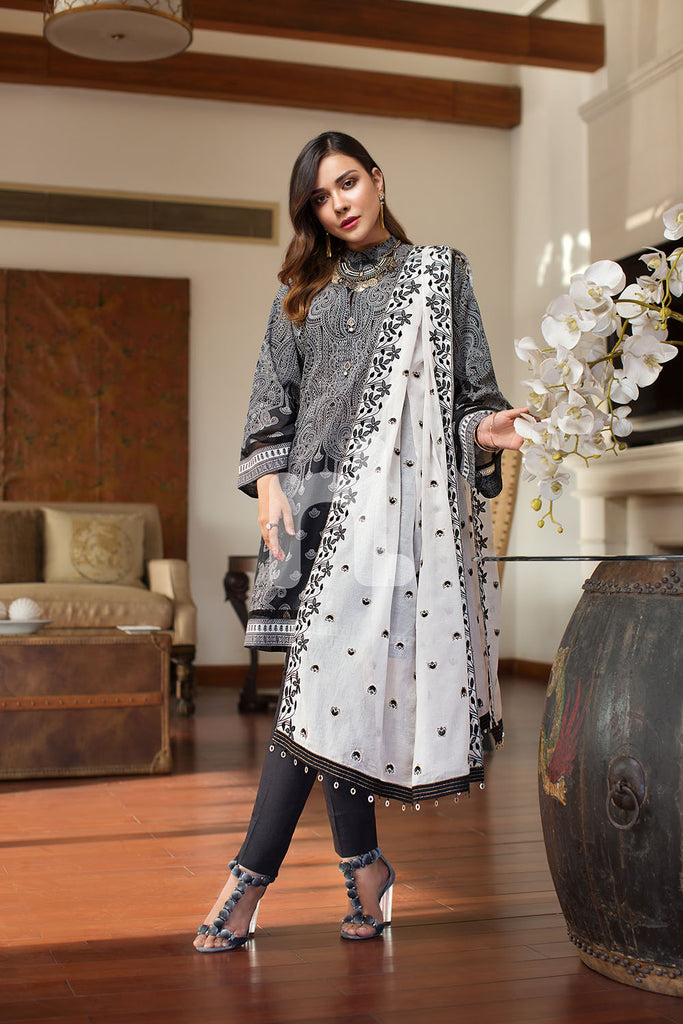 41907058 - Lawn & Cambric -  Black Printed Embroidered - 3PC
