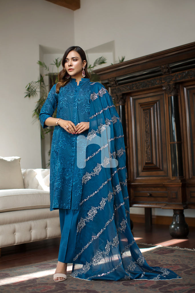 41907059 -  Lawn & Cambric - Blue Printed Embroidered - 3PC