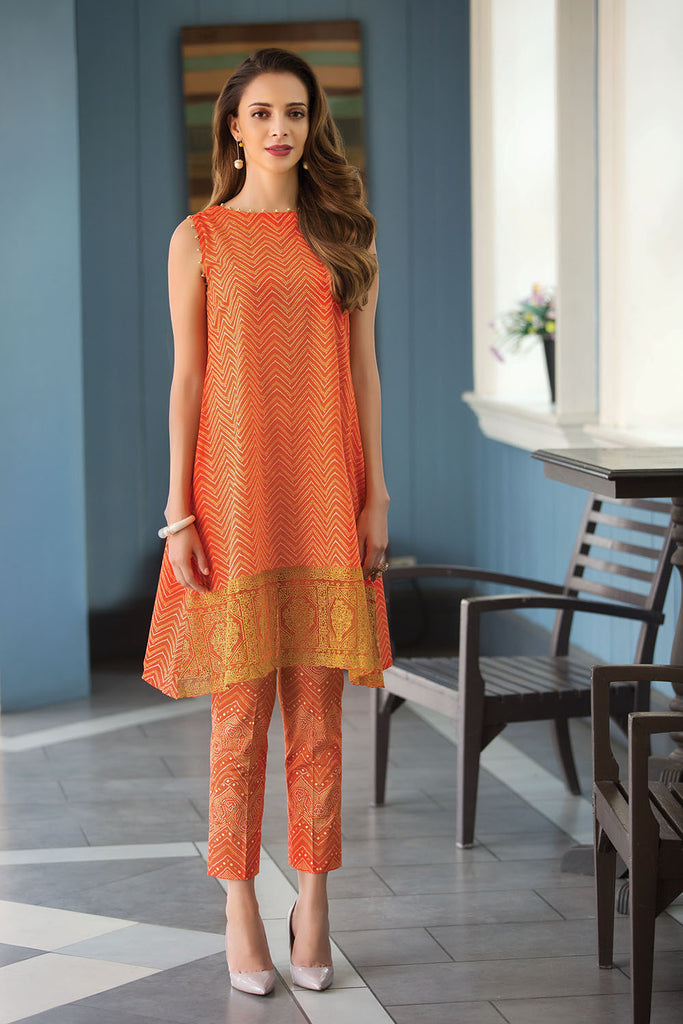 41907252-Slub Lawn & Cambric - Orange Printed 2PC