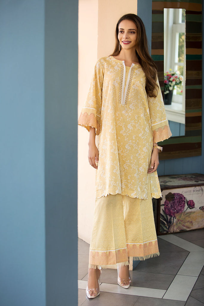 41907257-Slub Lawn & Cambric - Yellow Printed 2PC