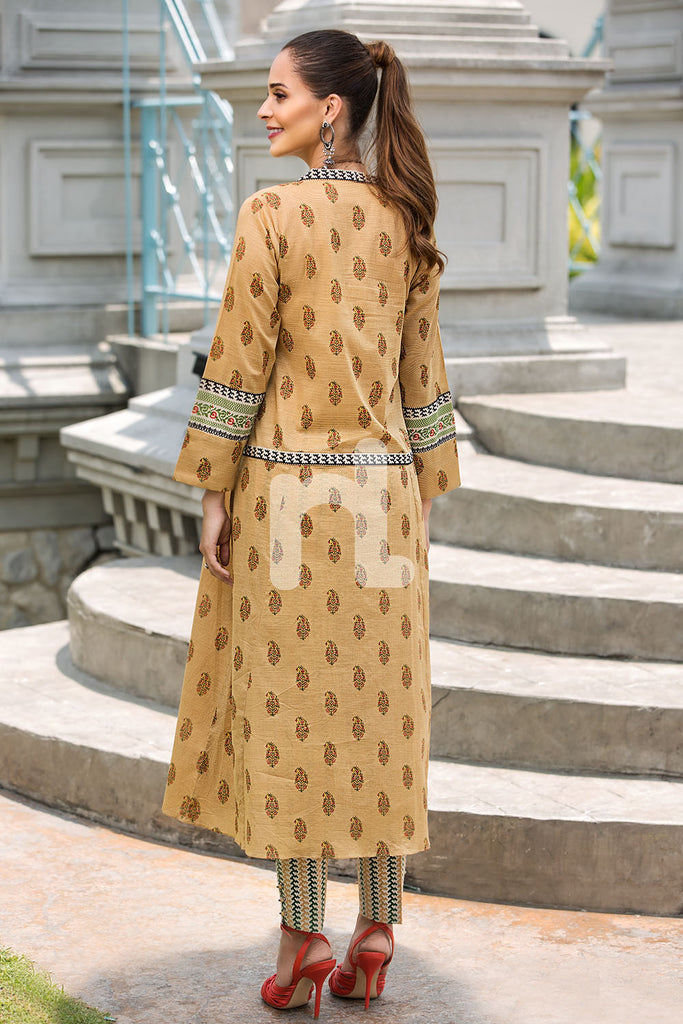 41907261-Slub Lawn & Cambric - Brown Printed 2PC