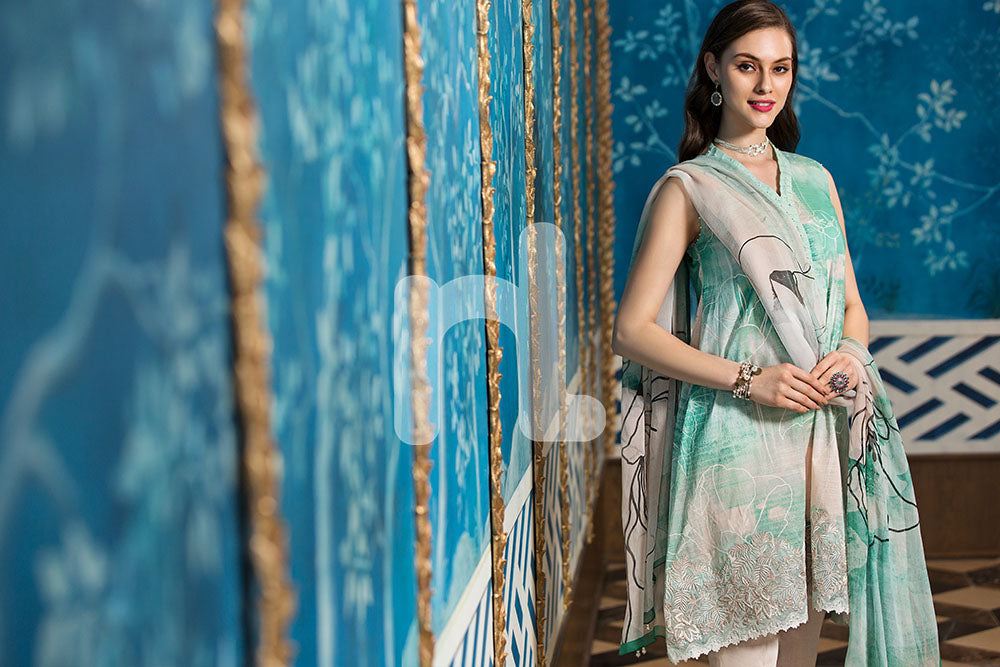 41907283-Crinkle Chiffon, Slub Lawn & Cambric - Green Digital Printed Embroidered 3PC