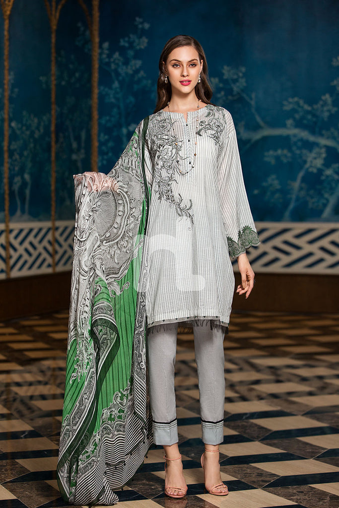 41907288-Crinkle Chiffon, Slub Lawn & Cambric - Grey Digital Printed Embroidered 3PC