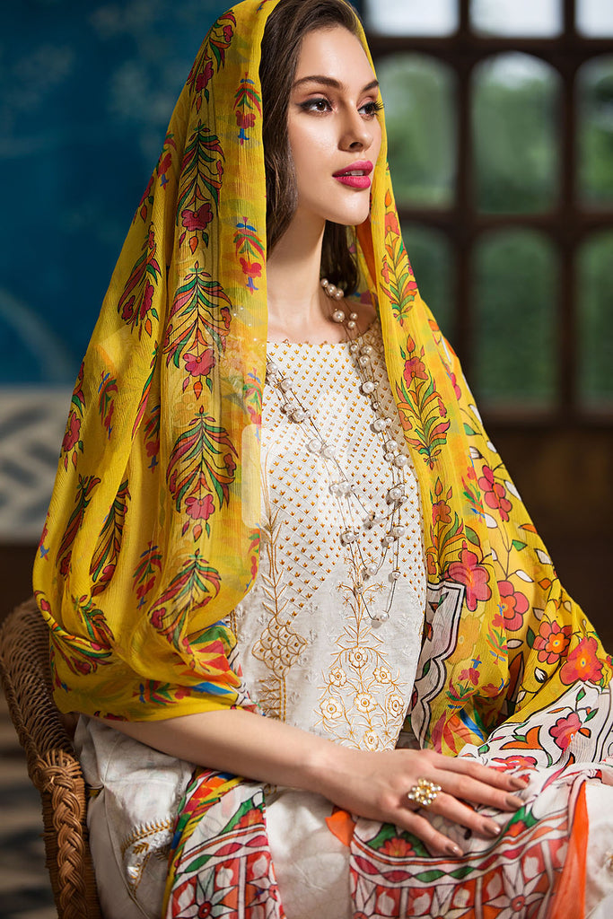 41907290-Crinkle Chiffon, Slub Lawn & Cambric - White Printed Embroidered 3PC