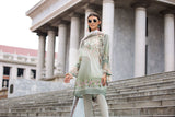 41907296-Silk Chiffon, Slub Lawn & Cambric - Green Digital Printed Embroidered 3PC