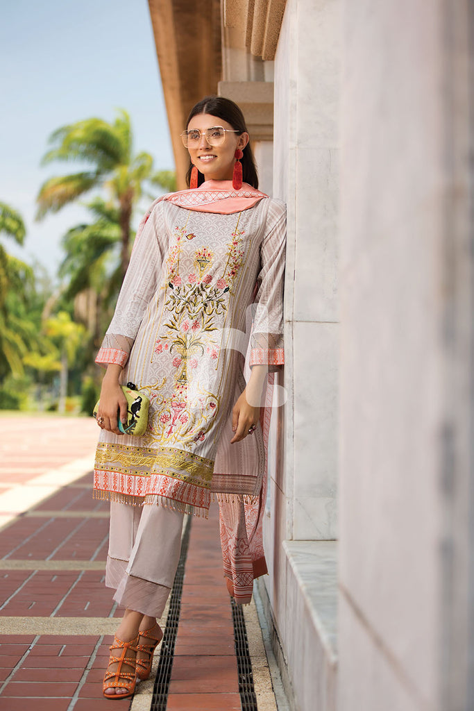 41907297-Slub Lawn & Cambric - Beige Digital Printed Embroidered 2PC