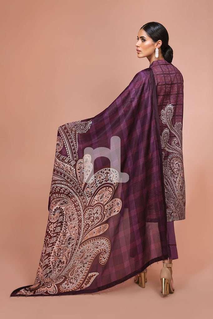 41907501-Silk Chiffon, Slub Lawn & Cambric - Maroon Digital Printed Embroidered 3PC