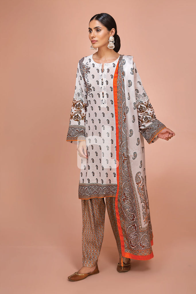 41907503-Silk Chiffon, Slub Lawn & Cambric - Off White Digital Printed Embroidered 3PC