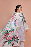 41907509-Silk Chiffon, Slub Lawn & Cambric - White Digital Printed Embroidered 3PC