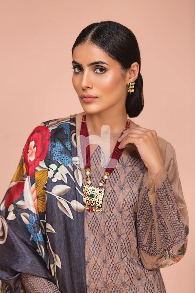 41907510-Silk Chiffon, Slub Lawn & Cambric - Brown Digital Printed Embroidered 3PC