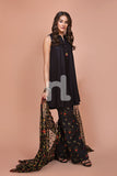 41907526-Net, Lawn & Cambric - Black Digital Printed Embroidered 3PC