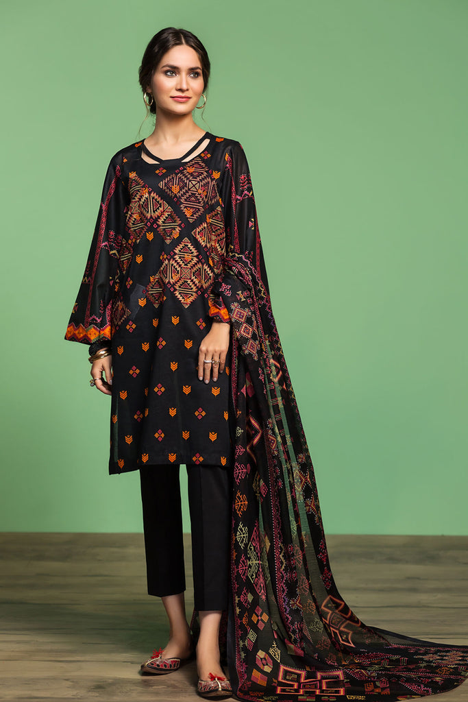 42001033- Printed Embroidered Lawn, Cambric & Voil 3PC