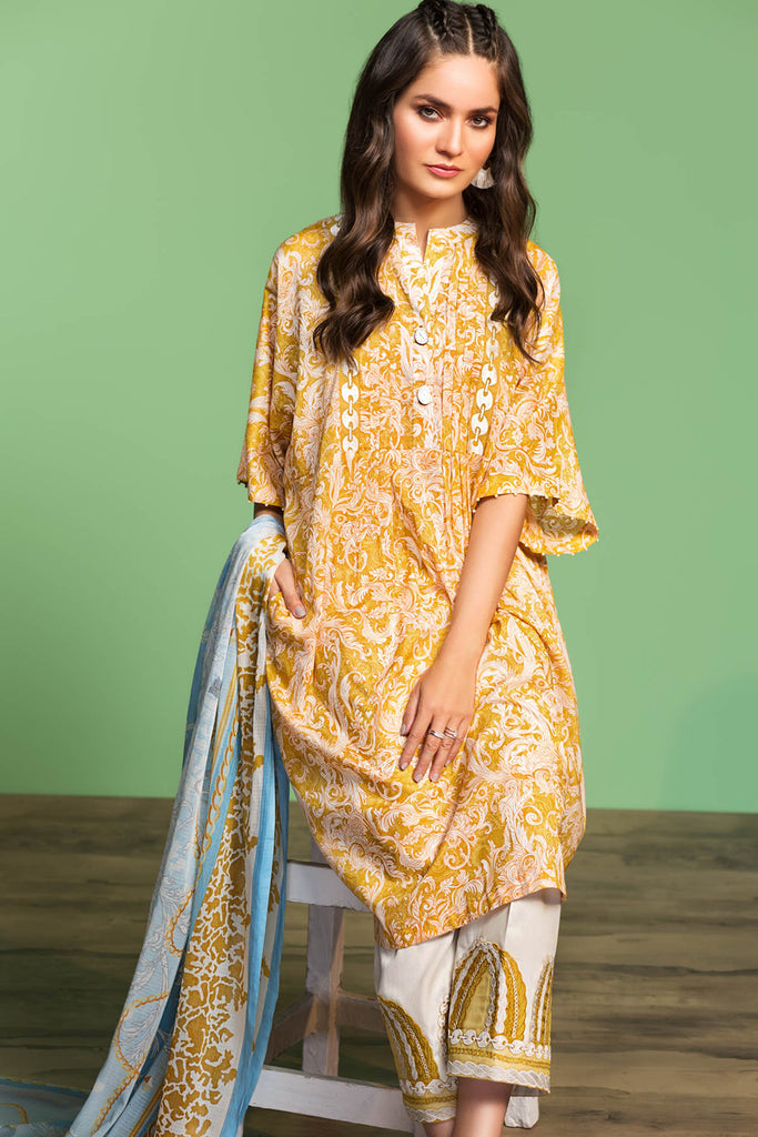 42001034-Printed Embroidered Lawn, Cambric & Voil 3PC