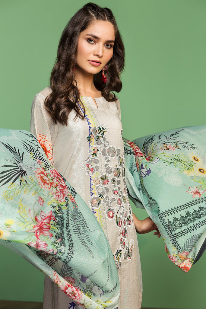 42001038-Digital Printed Embroidered Lawn, Cambric & Voil 3PC