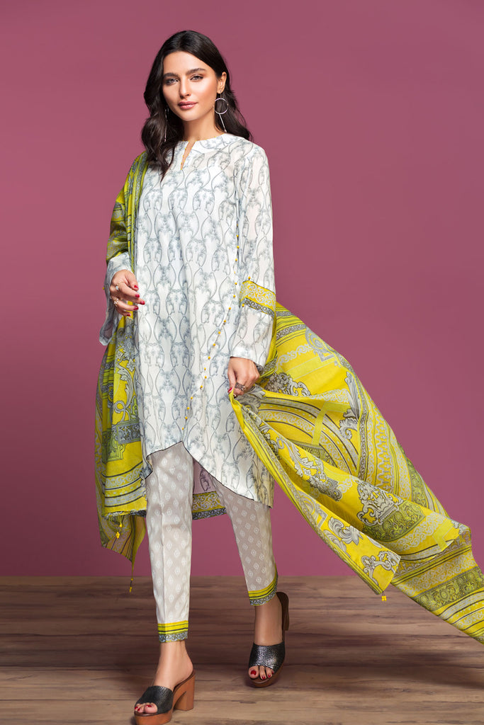 42001045-Printed Lawn, Cambric & Voil 3PC
