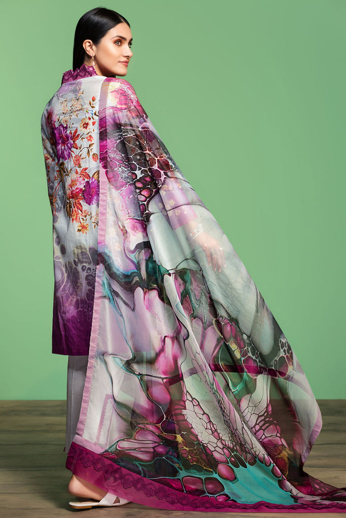 42001061- Digital Printed Embroidered Lawn, Cambric & Chiffon 3PC