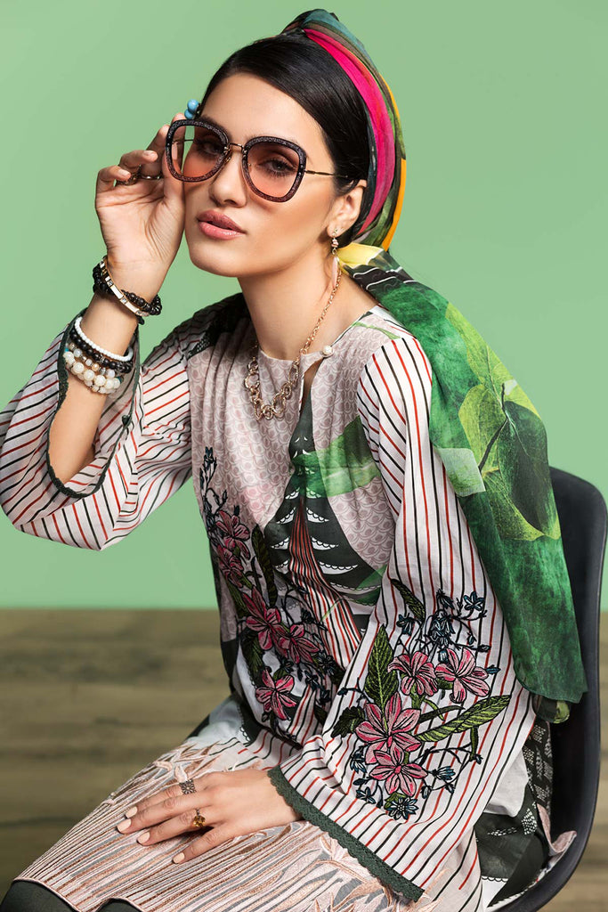 42001062-Digital Printed Embroidered Lawn, Cambric & Chiffon 3PC