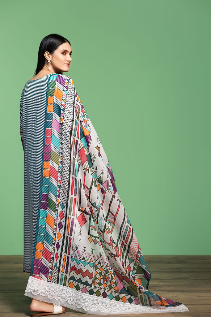 42001063- Printed Embroidered Lawn, Cambric & Chiffon 3PC